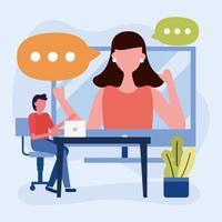 onlineutbildning med student och lärare
