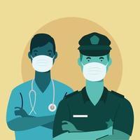 Polizist und Arzt tragen Gesichtsmasken vektor