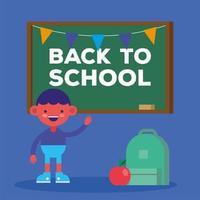söt tillbaka till skolan banner med student pojke vektor