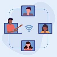 studenter för online-utbildningskoncept vektor