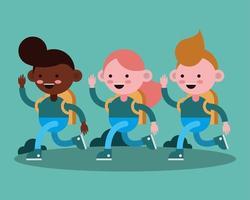 glückliche junge Studenten laufen