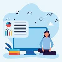 ung studentflicka i hemundervisning online-utbildning