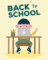 tillbaka till skolans banner med studentpojke som använder bärbar dator vektor