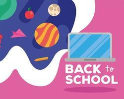 tillbaka till skolan bokstäver med laptop och förnödenheter