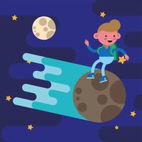 Schuljunge auf einem Meteoriten