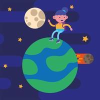 kleines Studentenmädchen auf einem Planeten