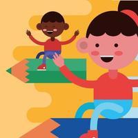 kleine Studenten fliegen mit Bleistiften vektor