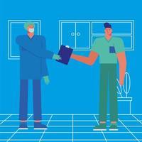 Beschäftigte im Gesundheitswesen in Aktion vektor