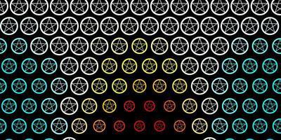 dunkelblaue, gelbe Vektorbeschaffenheit mit Religionssymbolen. vektor