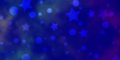 dunkelrosa, blaue Vektorschablone mit Kreisen, Sternen.