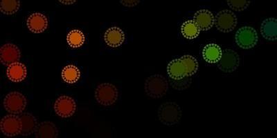 dunkelgrüne, gelbe Vektorbeschaffenheit mit Krankheitssymbolen. vektor