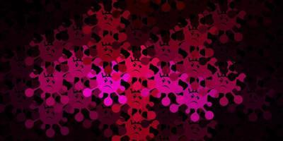 dunkelrosa Vektorhintergrund mit Virensymbolen. vektor