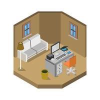 isometrischer Büroraum auf weißem Hintergrund