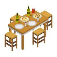 isometrischer Küchentisch auf weißem Hintergrund