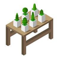 Tabelle mit isometrischen Pflanzen auf weißem Hintergrund