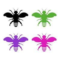Satz Bienen auf weißem Hintergrund vektor
