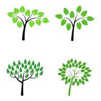 Satz Bäume auf weißem Hintergrund