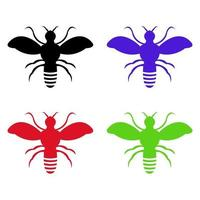 uppsättning bin på vit bakgrund vektor