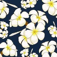 nahtloses Muster weißer Frangipani blüht dunkelblauen abstrakten Hintergrund. Zeichnen von Strichzeichnungen. Vektorillustration Stoff Textildesign vektor
