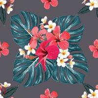 sömlösa mönster tropisk sommar med röd hibiskus, frangipani blommor och gröna monstera blad på isolerad bakgrund. vektor illustration hand ritning torr akvarell stil. för tygdesign.