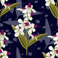 sömlösa mönster botaniska rosa-vita orkidéblommor på abstrakt mörkblå bakgrund. vektor illustration ritning akvarell stil. för begagnad tapetdesign, textiltyg eller omslagspapper.