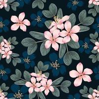 nahtlose Muster rosa wilde Blumen auf lokalisiertem schwarzem Hintergrund. Vektorillustration Handzeichnung Strichzeichnung. für Stoffdesign. vektor