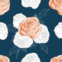 sömlösa mönster vackra rosa ros blommor abstrakt bakgrund. vektor illustration hand ritning torr akvarell stil. för textildukdesign