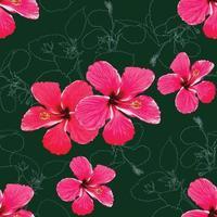 sömlösa mönster tropisk sommar med rosa-röda hibiskusblommor på abstrakt grön bakgrund. vektor illustration hand ritning akvarell stil. för tygdesign.