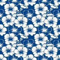 nahtloser Muster botanischer Weinlese-Hibiskusblumen abstrakter klassischer blauer Hintergrund. Vektorillustration Zeichnung Strichgrafiken. für gebrauchtes Tapetendesign, Textilgewebe oder Geschenkpapier.