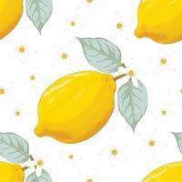 sömlösa mönster tropisk sommar med citronfrukt och blommor på isolerad vit bakgrund. vektor illustration hand ritning konst. för tygdesign.