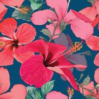 tropischer Sommer des nahtlosen Musters mit roten Hibiskusblumen auf lokalisiertem dunkelblauem Hintergrund. Vektorillustration Handzeichnung trockener Aquarellstil. für Stoffdesign. vektor