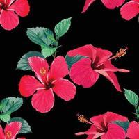 sömlösa mönster tropisk sommar med röda hibiskusblommor på isolerad svart bakgrund. vektor illustration hand ritning akvarell stil. för tygdesign.