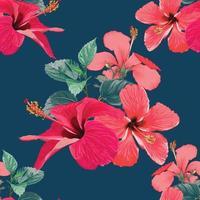 sömlösa mönster tropisk sommar med röda hibiskusblommor på isolerad mörkblå bakgrund. vektor illustration hand ritning torr akvarell stil. för tygdesign.
