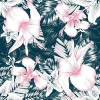 rosa Hibiskus des nahtlosen Musters und weiße Lilienblumen und Palmblätter auf dunkelgrünem Hintergrund. Vektorillustration Strichzeichnungen.