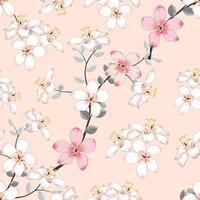sömlösa mönster rosa vilda blommor på isolerad pastell bakgrund. vektor illustration hand ritning konst. för tygdesign.