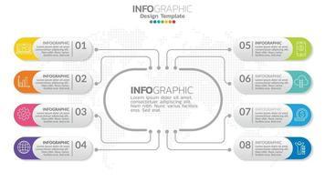 Infografik 8 Element mit Mittelkreis. Grafikdiagramm Diagramm, Business Timeline Grafikdesign mit Symbolen. vektor