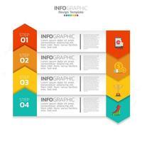 Business-Infografik-Elemente mit 4 Optionen oder Schritten blauen Thema. vektor