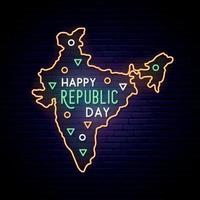Indien republik dag neon karta. vektor