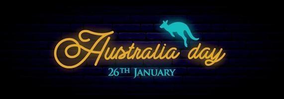 lång neon banner för australiens dag firande. vektor