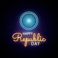lycklig Indien republik dag neon design. vektor