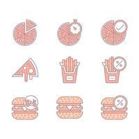 färgglada snabbmat och pizza ikoner vektor
