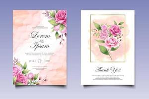 hand ritning blommig bröllop inbjudningskort vektor