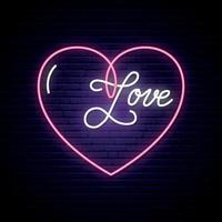 Leuchtreklame, das Wort Liebe mit Herz auf dunkler Mauer. vektor