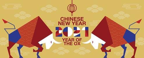 Frohes neues Jahr, chinesisches neues Jahr, 2021, Jahr des Ochsen, Zeichentrickfigur, flaches Design vektor