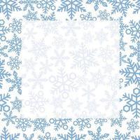 nahtloser quadratischer Rahmen und Hintergrund mit Schneeflockenmuster. horizontal und vertikal wiederholbar. vektor