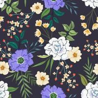 färgglada sömlösa mönster med botanisk blommönster på mörk bakgrund. vektor