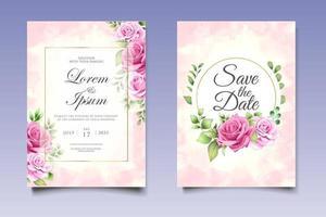 Hochzeitseinladungskarte mit schönen Blumen und Blättern vektor