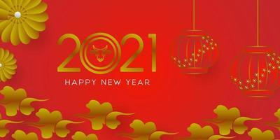 glückliche Mondjahresfahnen-Entwurfsschablone auf rotem Hintergrund vektor