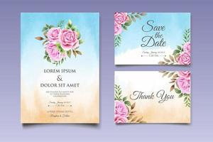 bröllopinbjudankort med vackra blommor och blad vektor