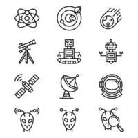 Weltraumplaneten und Aliensymbole vektor